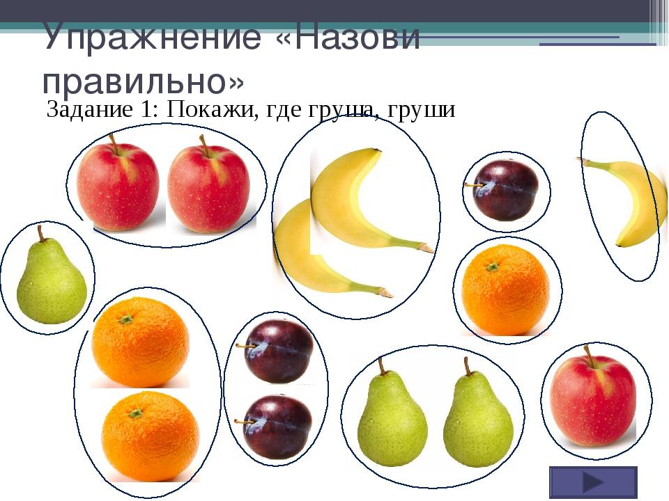 Упражнение «Назови правильно» Задание 1: Покажи, где груша, груши