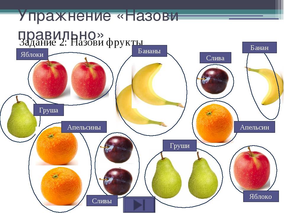 Упражнение «Назови правильно» Задание 2: Назови фрукты Банан Слива Апельсин Я...