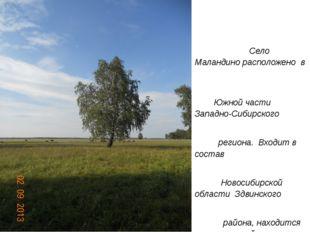 Село Маландино расположено в Южной части Западно-Сибирского региона. Входит