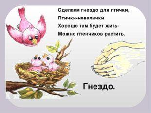 Сделаем гнездо для птички, Птички-невелички. Хорошо там будет жить- Можно пте