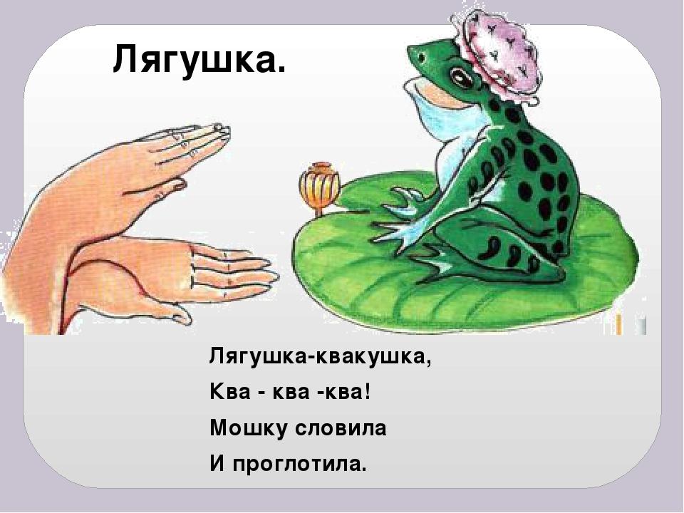 Лягушка-квакушка, Ква - ква -ква! Мошку словила И проглотила. Лягушка.