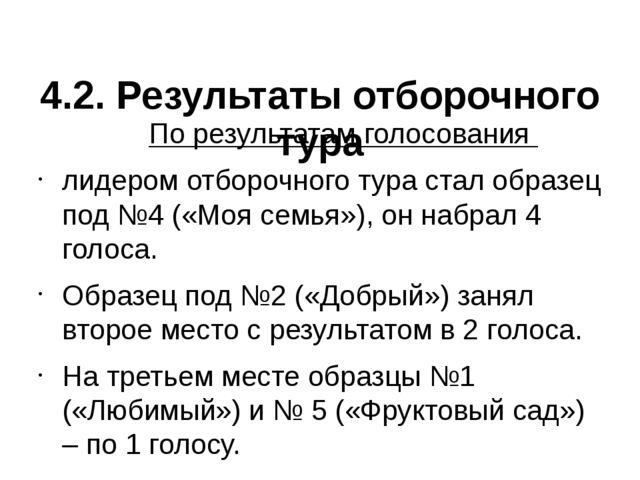 4.2. Результаты отборочного тура По результатам голосования лидером отборочн...