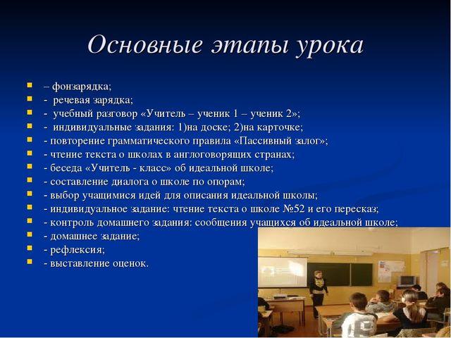 Основные этапы урока – фонзарядка; - речевая зарядка; - учебный разговор «Учи...