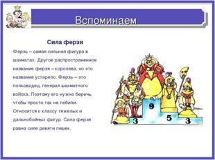 Вспоминаем Сила ферзя Ферзь – самая сильная фигура в шахматах. Другое распрос