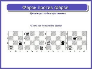 Ферзь против ферзя Начальное положение фигур Цель игры: побить противника.