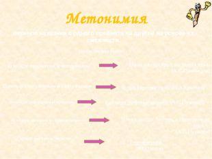 Метонимия перенос названия с одного предмета на другой на основе их смежности