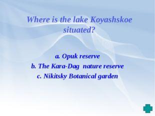 Where is the lake Koyashskoe situated? a. Opuk reserve b. The Kara-Dag nature