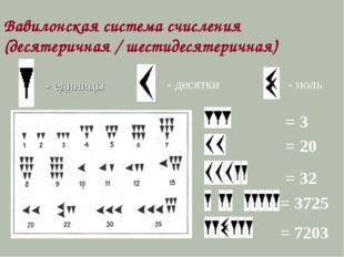 - единицы - десятки - ноль Вавилонская система счисления (десятеричная / шест