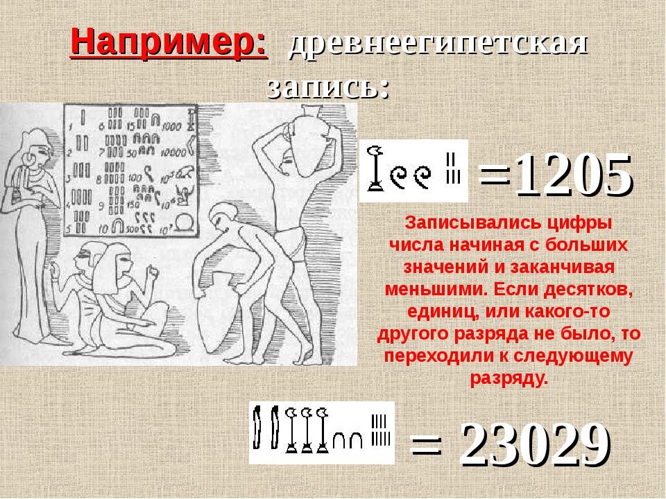 Например: древнеегипетская запись: =1205 Записывались цифры числа начиная с б...