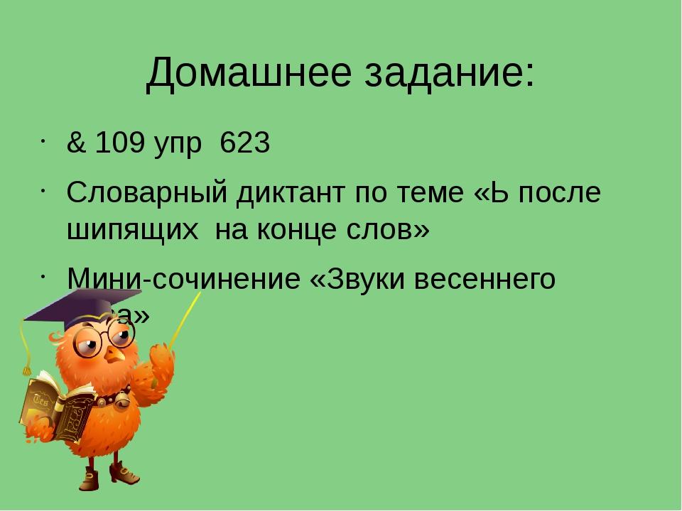 Домашнее задание: & 109 упр 623 Словарный диктант по теме «Ь после шипящих на...