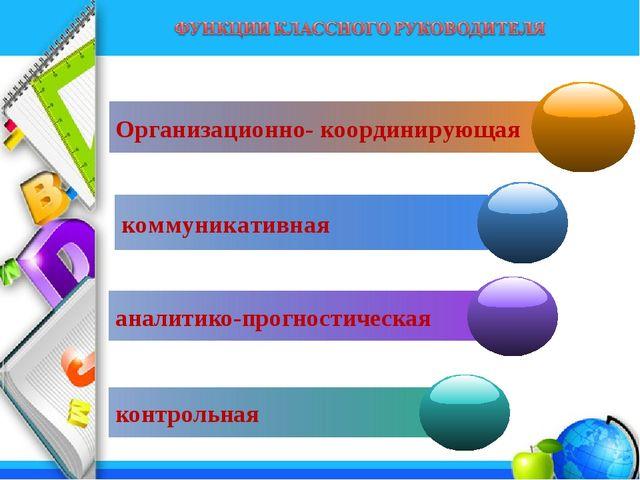 Организационно- координирующая коммуникативная аналитико-прогностическая конт...