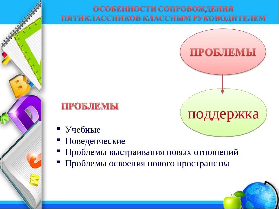 поддержка Учебные Поведенческие Проблемы выстраивания новых отношений Проблем...