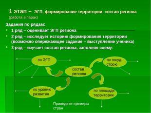 1 этап – ЭГП, формирование территории, состав региона (работа в парах) Задани