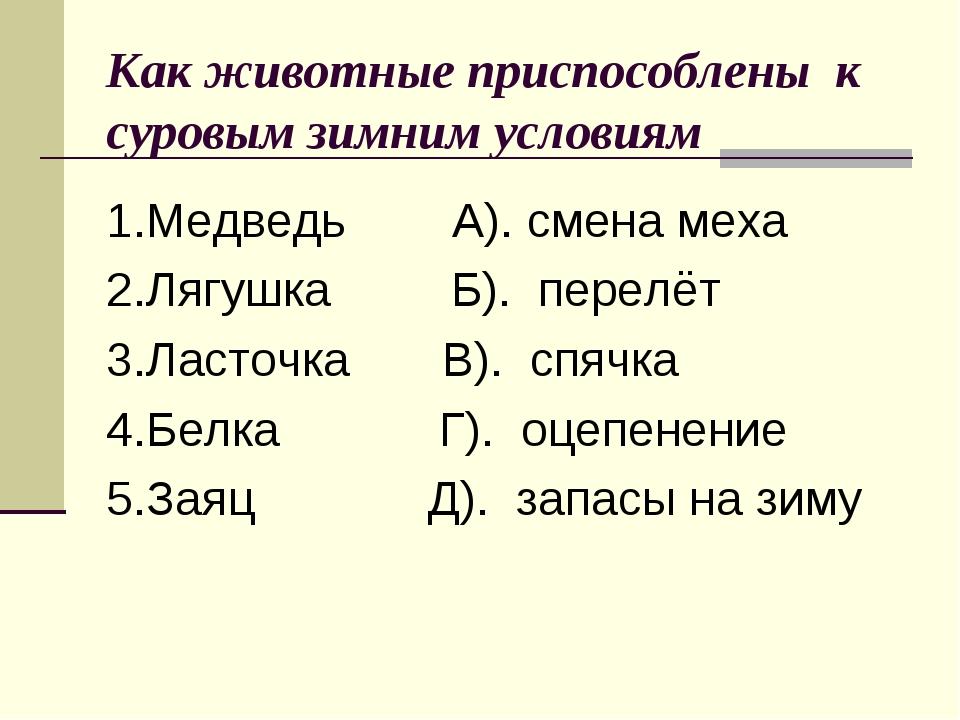 1.Медведь А). смена меха 2.Лягушка Б). перелёт 3.Ласточка В). спячка 4.Белка...