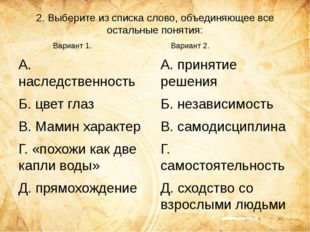 2. Выберите из списка слово, объединяющее все остальные понятия: А. наследств