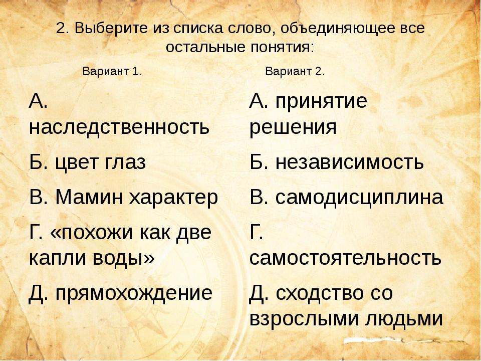 2. Выберите из списка слово, объединяющее все остальные понятия: А. наследств...