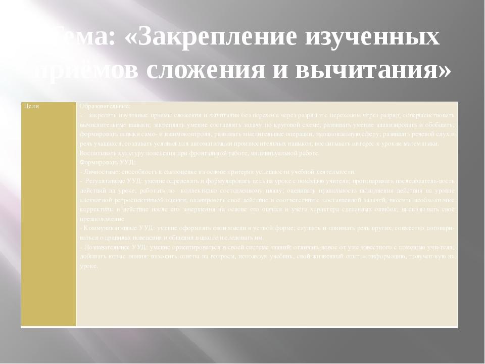 Тема: «Закрепление изученных приёмов сложения и вычитания» Цели  Образовател...