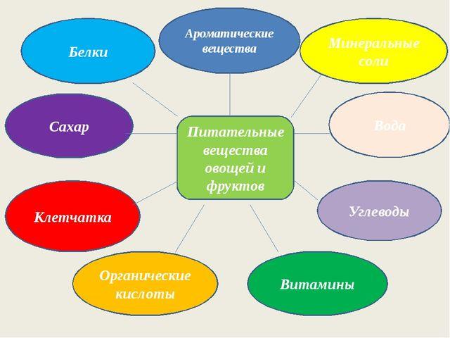 Питательные вещества овощей и фруктов Вода Углеводы Ароматические вещества Бе...