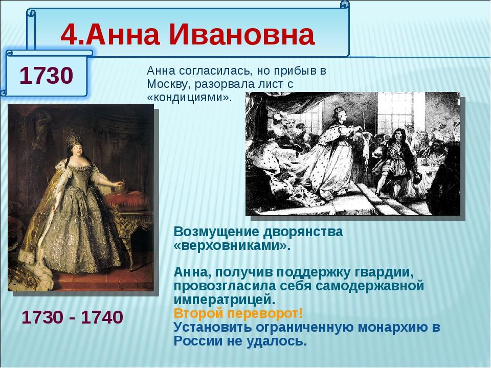 4.Анна Ивановна 1730 - 1740 Анна согласилась, но прибыв в Москву, разорвала л...