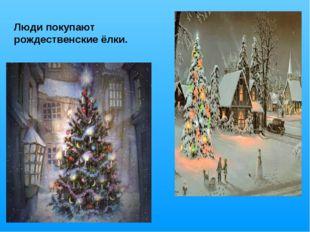 Люди покупают рождественские ёлки.