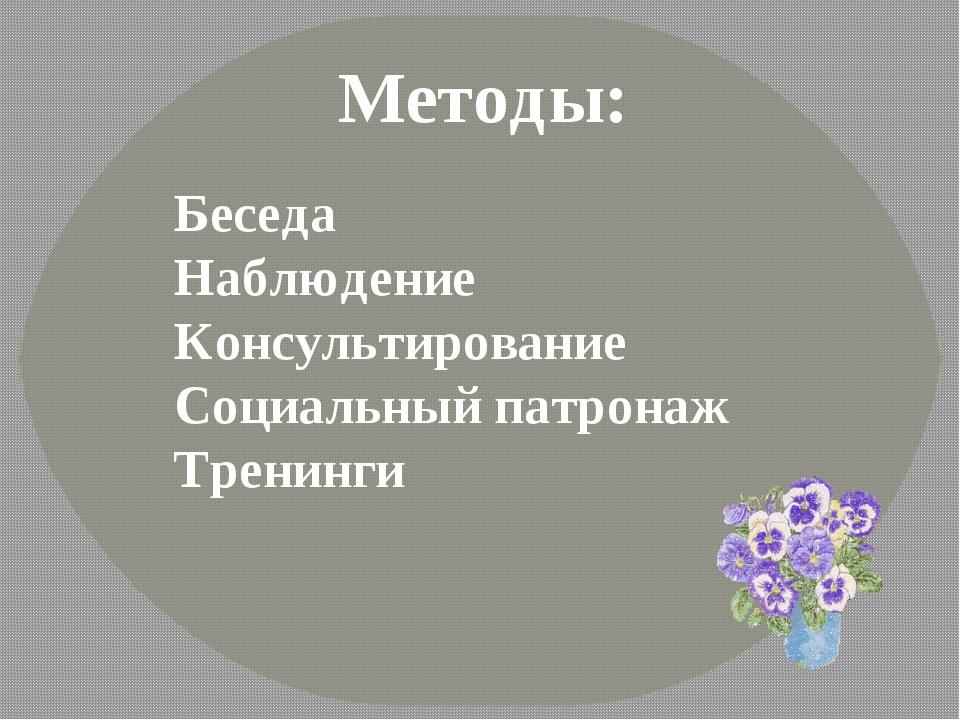 Методы: Беседа Наблюдение Консультирование Социальный патронаж Тренинги