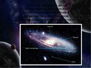 Галактикасостоитиздиска, галоикороны.Центральная, наиболеекомпактная