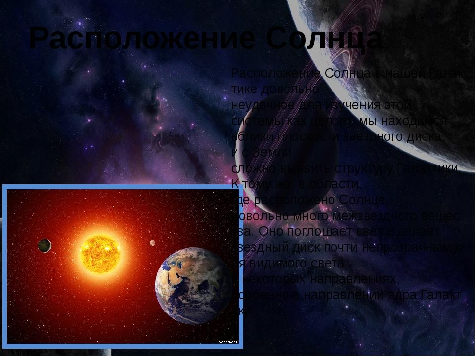 Расположение Солнца РасположениеСолнцавнашейГалактикедовольно неудачное...