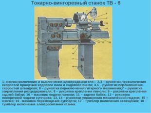 Токарно-винторезный станок ТВ - 6 1- кнопки включения и выключения электродви