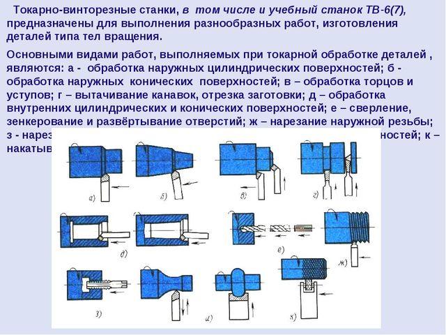 Токарно-винторезные станки, в том числе и учебный станок ТВ-6(7), предназнач...