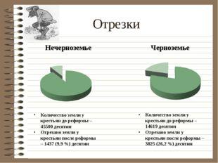 Отрезки Количество земли у крестьян до реформы – 45500 десятин Отрезано земли