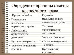 Определите причины отмены крепостного права Крымская война. Помещичье хозяйст