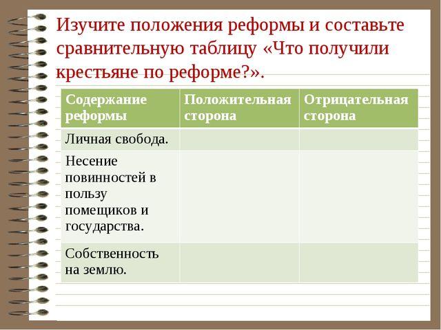 Изучите положения реформы и составьте сравнительную таблицу «Что получили кре...