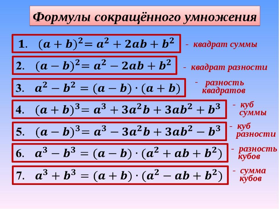 Краткий курс 8 класса по алгебре