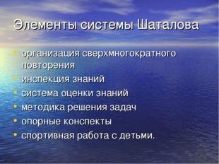 * Элементы системы Шаталова организация сверхмногократного повторения инспекц