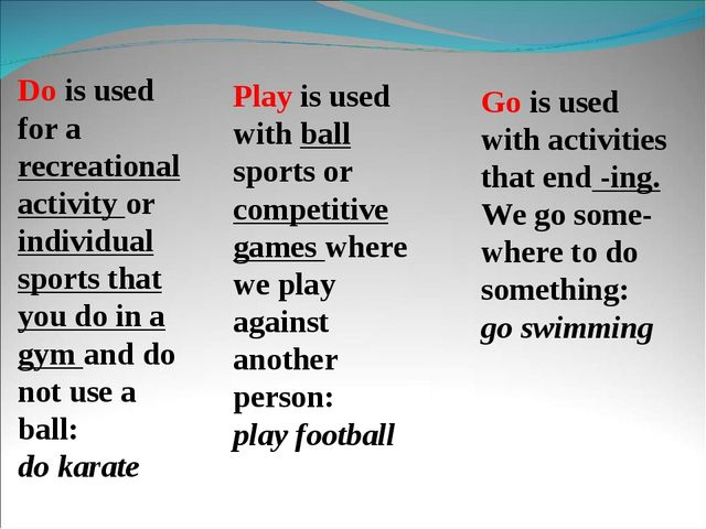 Play is used with ball sports or competitive games where we play against anot...