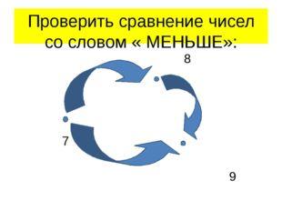 Проверить сравнение чисел со словом « МЕНЬШЕ»: 8 7 9