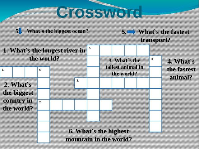 Crossword 1. 6. 2. 5. 3. 4. 1. What`s the longest river in the world? 2. What...