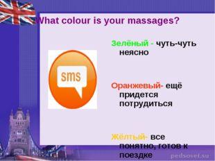 What colour is your massages? Зелёный - чуть-чуть неясно Оранжевый- ещё приде