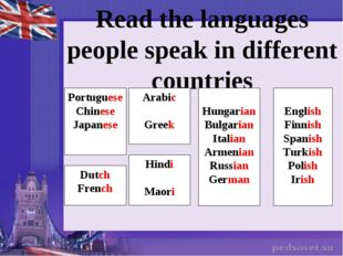 Read the languages people speak in different countries Portuguese Chinese Jap