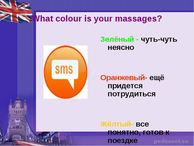 What colour is your massages? Зелёный - чуть-чуть неясно Оранжевый- ещё приде...