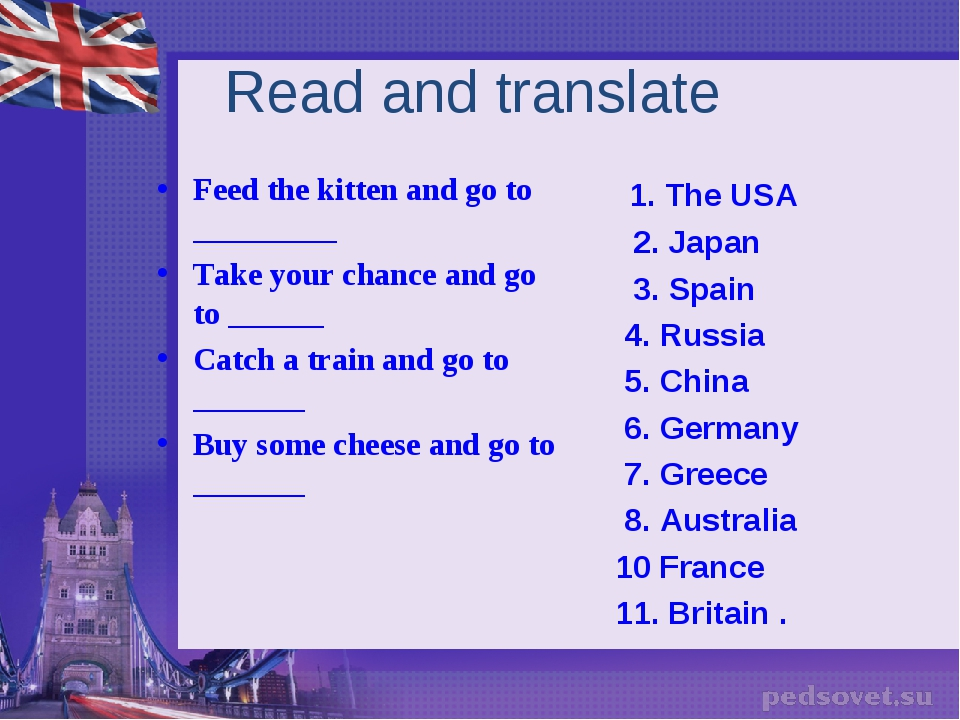 Read and translate Feed the kitten and go to _________ Take your chance and g...