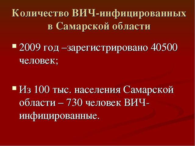 Количество ВИЧ-инфицированных в Самарской области 2009 год –зарегистрировано...