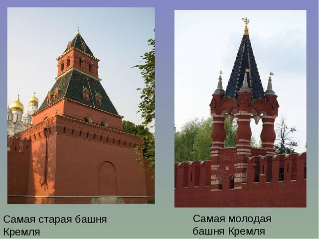 Самая старая башня Кремля Самая молодая башня Кремля