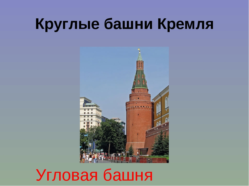Круглые башни Кремля Угловая башня