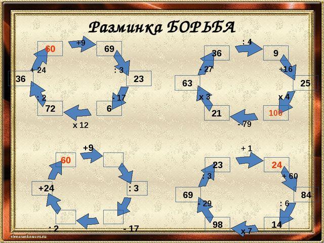 Разминка БОРЬБА +9 +24 : 3 : 2 - 17 x 12 +9 + 24 : 3 : 2 - 17 x 12 + 1 : 3 +...