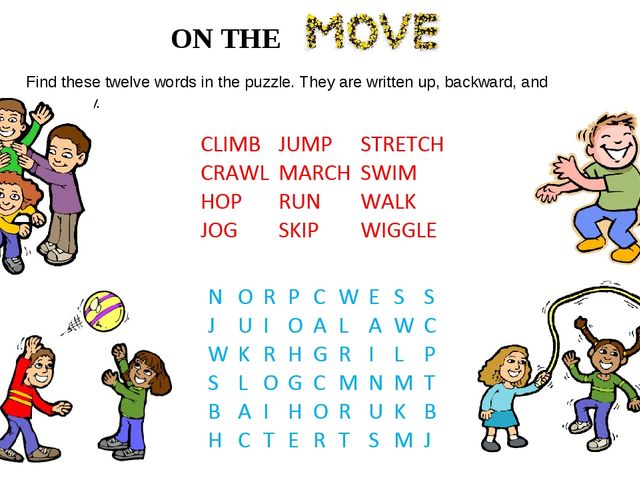 ON THE Find these twelve words in the puzzle. They are written up, backward,...