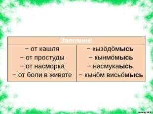 Запомни! − от кашля − от простуды − от насморка − от боли в животе −кызöдöмы