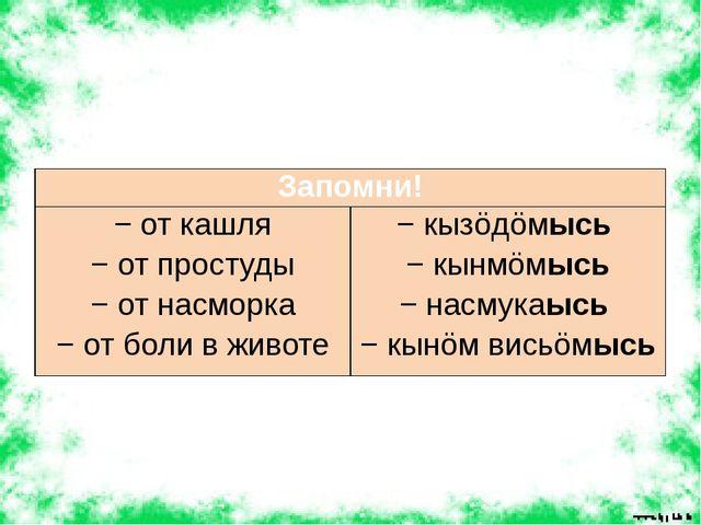 Запомни! − от кашля − от простуды − от насморка − от боли в животе −кызöдöмы...