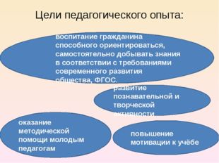Цели педагогического опыта: оказание методической помощи молодым педагогам по