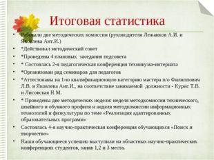 Итоговая статистика Pаботали две методических комиссии (руководители Лежанков